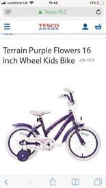 "Brand New Girls Purple Flower Bike 16"""