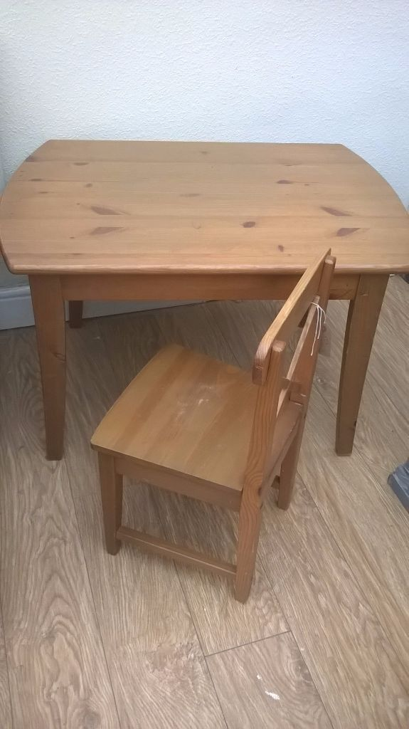Ikea Leksvik Cute Table And Chair Solid Wood Antique