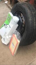 Brand new tyre and wheel plus following items
