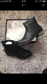 Black Stitch Detail Western Ankle Boots