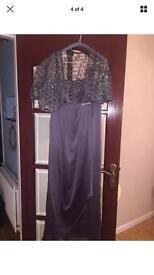 Grey formal dress with shawl