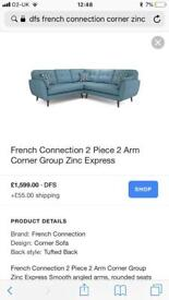 DFS French Connection Zinc Express Corner Sofa