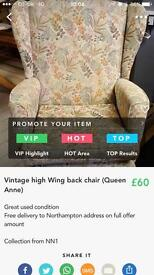 Vintage high Wing back Queen Anne chair
