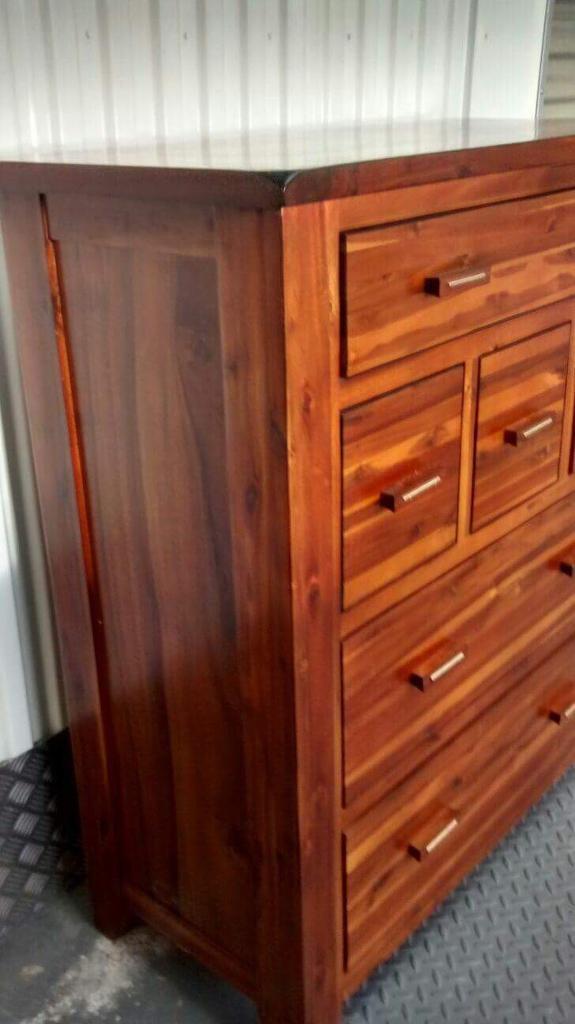 Designer Mark Webster Kember Acacia Wood Chest Of Drawers