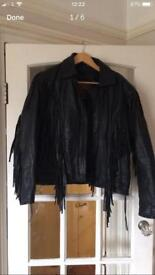Leather biker jacket black motorcycle tassels lovely condition