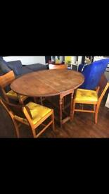 Drop leaf dining table & x4 mid century chairs - vintage, retro, upcycled
