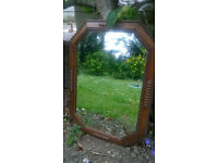 Vintage solid oak bevelled mirror in lovely condition HELSTON £15