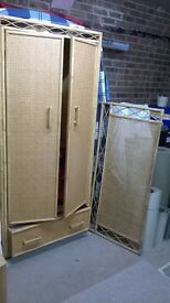Cane double door wardrobe and matching double bed headboard