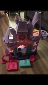 Little people castle plus furniture and 2 little people.