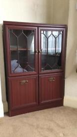 Mahogany MDF Wood Display Cupboard Glass
