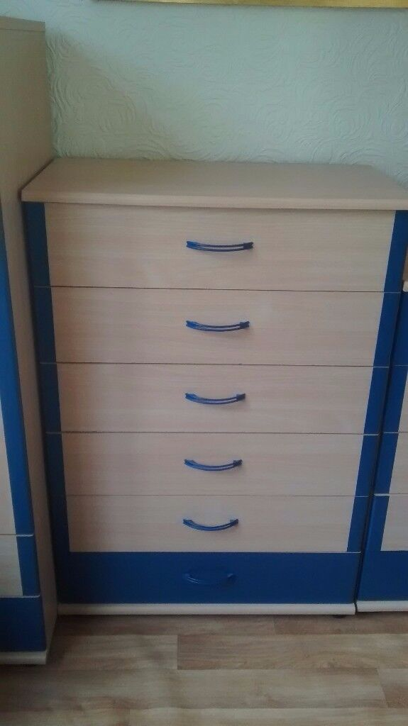 Light beech & blue chest of drawers