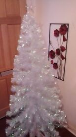 6 Foot Fibre Optic White Christmas Tree with Blue LED Stars