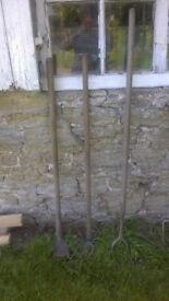 3 vintage garden Hoes