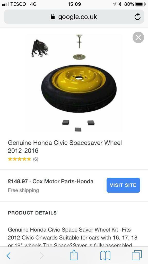 Honda Civic Space Saver Spare Wheel. 2006  2012 All Models Inc Type R