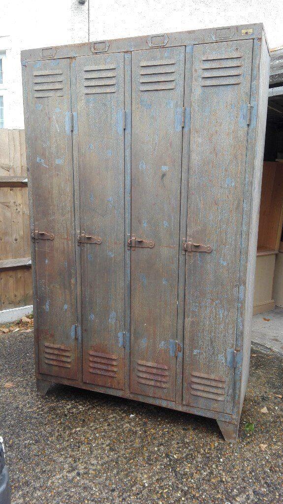 original vintage industrial 4 door metal locker cabinet wardrobe