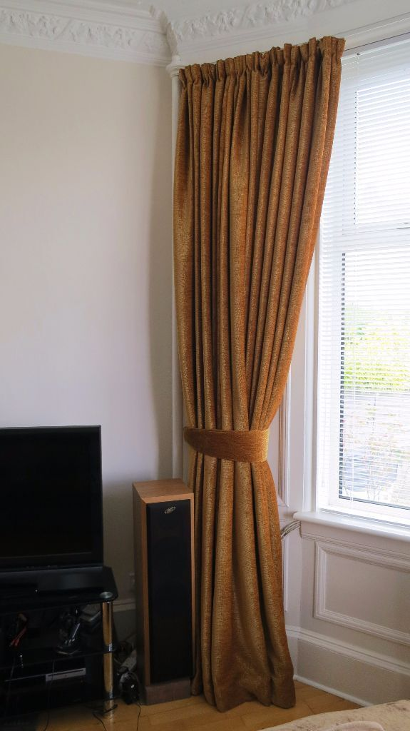 Heavy Gold Velvet Curtains For Large Bay Window, 112 Inch Drop