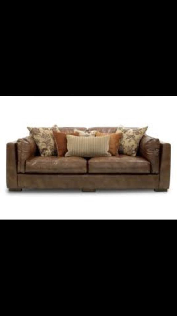 furniture village shalimar leather and fabric brown 4 seater sofa and snuggle chair