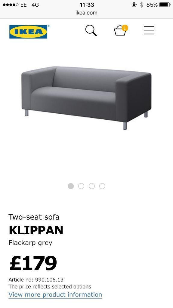 Black Ikea Klippan Sofa   Free Delivery £70 Off Original Price