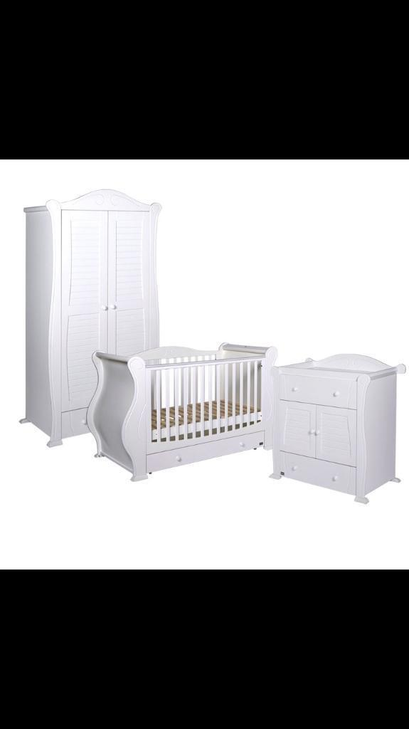 Tutti Bambini Marie Bedroom Furniture Set Baby Toddler Kids Cot Bed Wardrobe  Storage Changer White