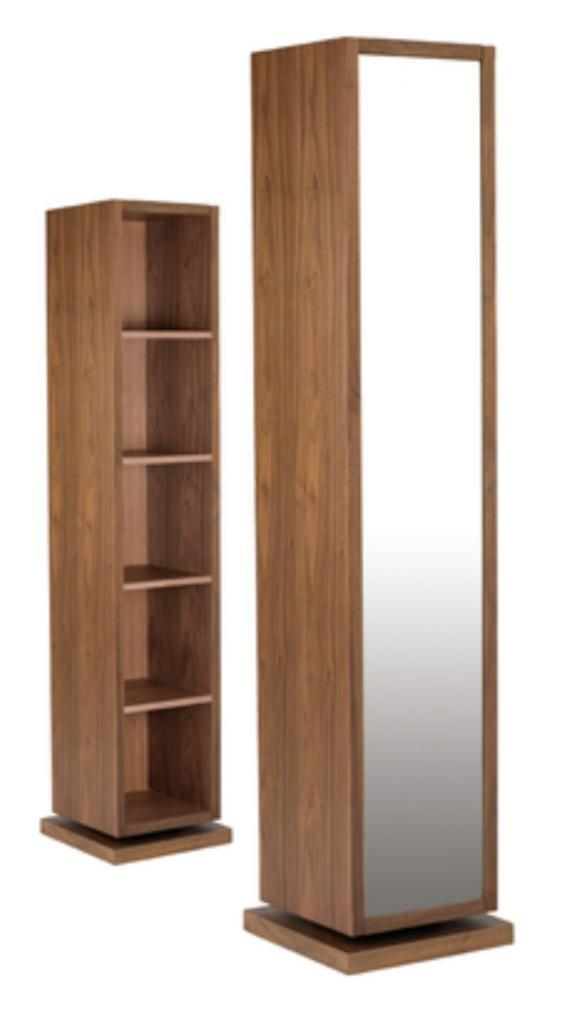 Perfect Dwell   Freestanding Rotating Storage Mirror Walnut