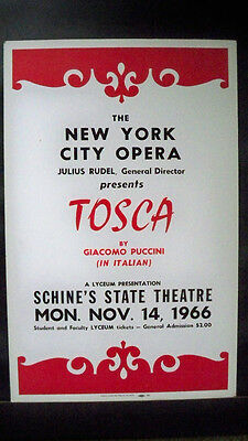 NEW YORK CITY OPERA COMPANY Window Card SCHINE'S STATE THEATRE Tour TOSCA 1966