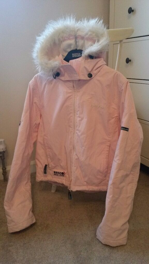 Head - Ladies pale pink fur-trimmed ski jacket size12-14 with ...