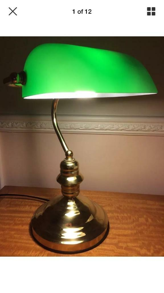Brass Bankers Lamp Desk Table With Green Glass Shade