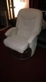 CREAM LEATHER GLIDING NURSING CHAIR WITH FOOTSTOOL