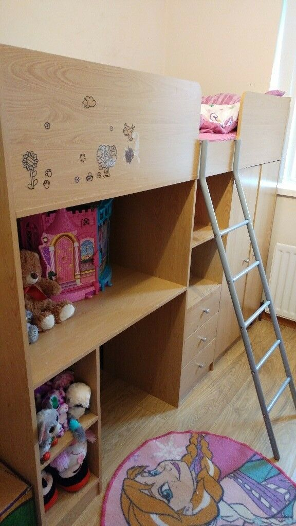 High Sleeper Bunk Bed Including Mattress With Built In Wardrobe Drawers