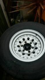 "Shogun/Pajero alloys 15"" fitted with Bridgestone tyres."