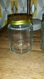 72 Hexagonal jam jars