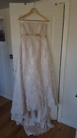 Maggie Sottero Light Gold wedding dress with pearls and lace