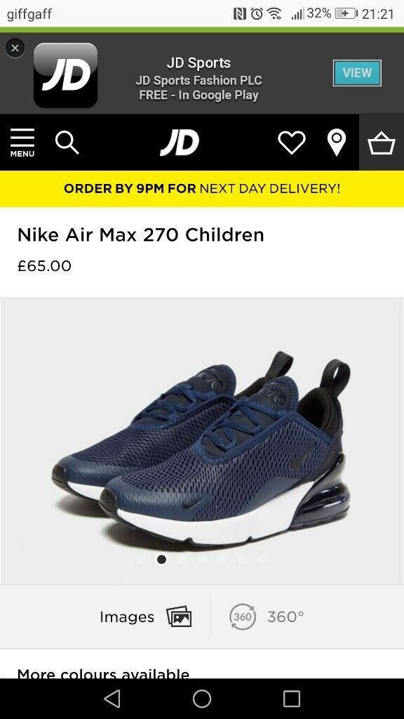 huge discount 5d280 39ddb  LIKE NEW  boys nike air max 270s
