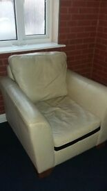 M&S white leather Armchair