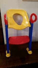 Toddler toilet training seat with step excellent condition