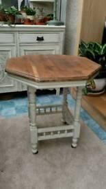 Antique Hexagonal Oak Side Table