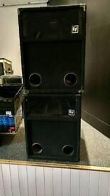 2 x Electro Voice EV S-181 18 inch 400 watt Bass Bins