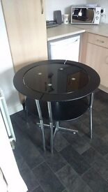 BLACK GLASS 2 SEATER DINING TABLE