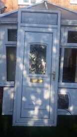 upvc white door with top light glass 905 w x 2380h