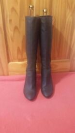 Elegant Red Herring Dark Grey Soft Leather Boots with Side Bow Detail -UK size 6 - hardly worn.