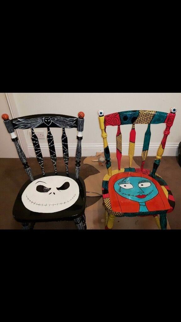 pair of handpainted jack and sally nightmare before christmas chairs - Nightmare Before Christmas Furniture