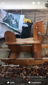 Hand made wooden rocking horse