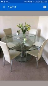 Larg Glass dining table with 4 chairs