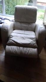 Recliners - Cream Leather - Berkley x 2 - well worn