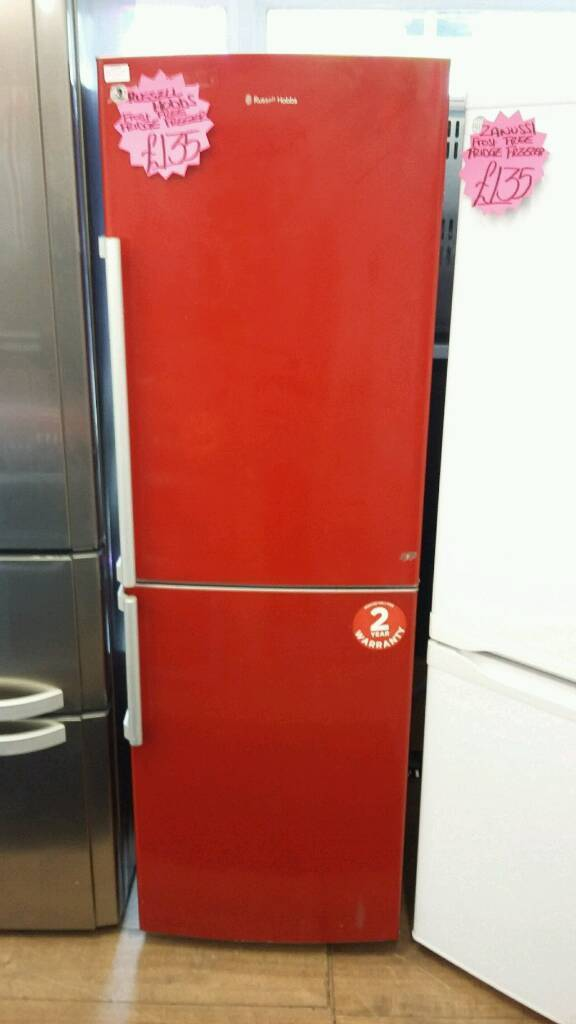 RUSSELL HOBS RED FROST FREE HALF AND HALF FRIDGE FREEZER