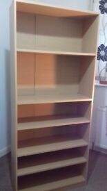 Tall book shelving unit with adjustable shelves