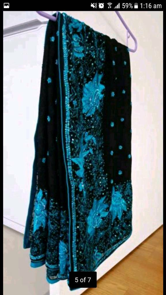 Midnight black saree