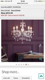 Debenhams 5 light chandelier brand new