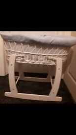 Blue moses basket with white stand