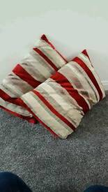 various red cushions